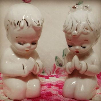 Vintage Porcelain Salt and Pepper Shaker Prayer Children / Girl Boy