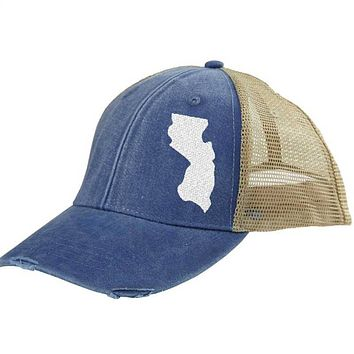 New Jersey Hat - Distressed Snapback Trucker Hat - off-center state pride hat - Pick your colors