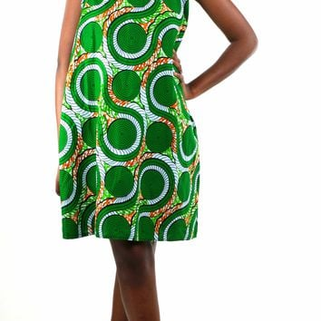African Print Halter Neck Dress - Green/White Floral Print