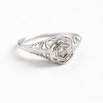 Antique 14k White Gold Art Deco Diamond Ring - Size 4 1/2 Vintage Filigree 1920s 1930s Solitaire Fine Flower Motif Jewelry