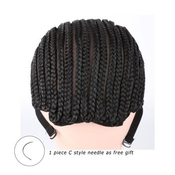 Black Crochet Synthetic Braids Wig Cap For Making Wigs With Adjustable Strap Glueless Weaving Caps Wig Caps Hairnet