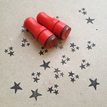 Mini Star Rubber Stamp // Set of 2 Mini Stamps