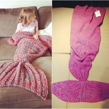 Mermaid Tail Blanket Handmade Knitted Blanket New Fashion Fish Tail Sofa Woolen Blanket  Children/Adult, 80*180CM good quality