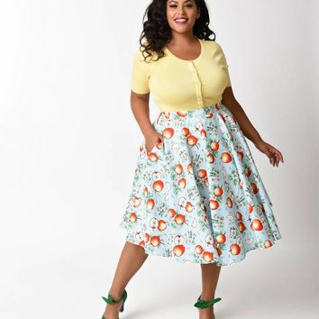 Hell Bunny Plus Size Light Blue & Sliced Apple Somerset Swing Skirt
