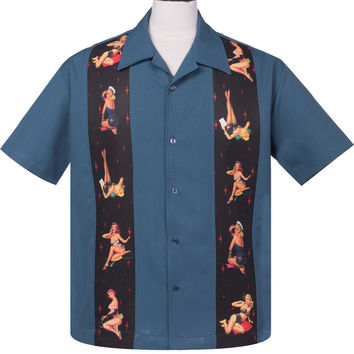 Steady Multi Pinup Girls Panel Button Up in Blue Bowling Shirt