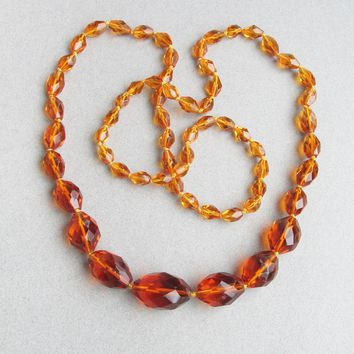 """Gorgeous! 1920's Vintage Art Deco Flapper 36"""" Long BIG Hand-Knotted Amber Czech Crystal Bead Necklace"""