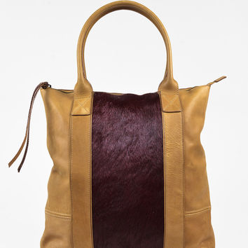 AllSaints Tan Leather Purple Genuine Calf Hair Tote Bag,shoulder bag stylish Soft Chanel