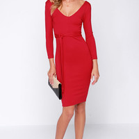 LULUS Exclusive Cocktails and Dreams Red Midi Dress