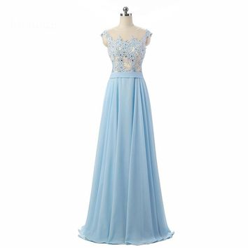 Arrival Cap sleeve Long Evening Dresses Chiffon Formal Special Occasion Dresses