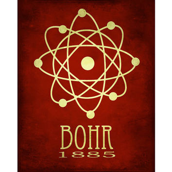 Science Art Print 8x10 - Atomic Structure, Niels Bohr, Steampunk Art, Rock Star Scientist Poster, Geek Art, Nerd art, Scientific Art Decor