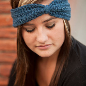 Crochet Knot Earwarmer- Denim- or Choose Your Color