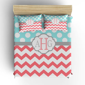 DUVET COVER, BEDDING Comforter, Polka Dot Chevron Pattern, Pillow Sham, Coral Aqua Gray, Toddler, Twin, Queen, King, Dorm, Girl Bedroom