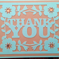 NEW!!  Handmade Peach Wedding, Bridal and/or Baby Shower Thank You Card w/envelope