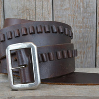 Vintage 70's Brown Leather Western Gun Holster Bullet Cowboy Belt