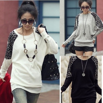Plus Women Batwing Sleeve Loose Animal Leopard Print T Shirt Blouse Oversize Top D_L = 1946850628