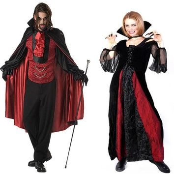 Children Adults Devil Vampire Cosplay Costume Stage Performance Clothing Set Halloween Masquerade Party Supplies