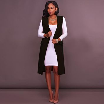 Black Sleeveless Long Blazer with Pockets
