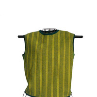 Vintage Sleeveless Top Wool Sweater Green with Yellow Horizontal and Vertical Stripes - Joseph Magnin- Made in Italy - Size 16