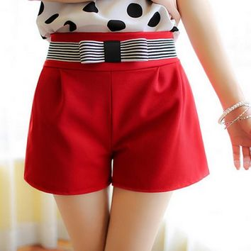 2017 New Bow Decoration Shorts Women High Waist Candy Color Short Feminino Slim Casual Chiffon Short Large Size Women Shorts