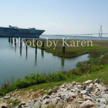 Landscape Photograph, Harbor, Water View, Peace and War,  8 x 10 Original Photograph