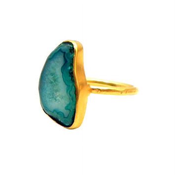 Green Druzy 22k Yellow Gold Plated Ring