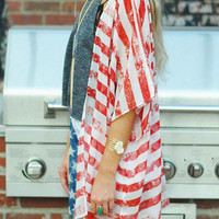 American Flag Printed Kimono without Necklace - Fairyseason