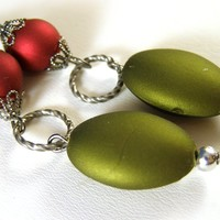 Red and Green Rubberized Bead Earrings