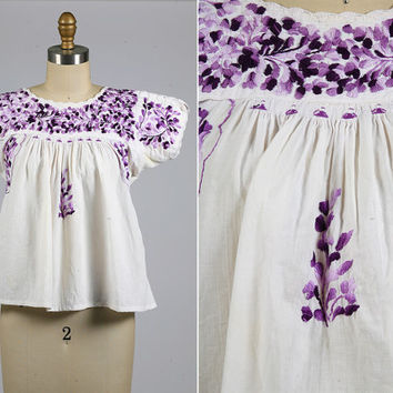 1960s blouse/ 60s embroidered peasant blouse