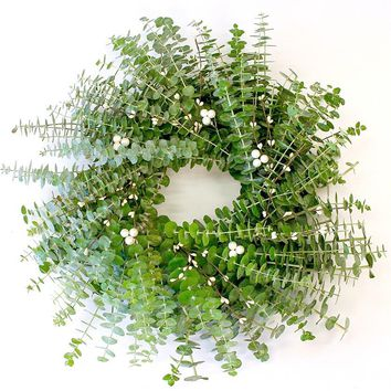 "Eucalyptus and White Berry Handcrafted Wreath For The Holidays and Beyond (18"")"