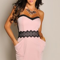 Strapless Angel Pink Mid-Lace Pocket Dress