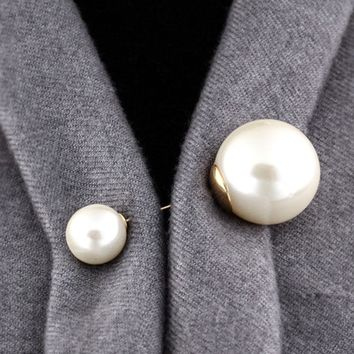 Sale 1PC Fashion Vintage Style Double Big Imitation Pearl Brooch For Women Girls Sweater Wedding Accessories