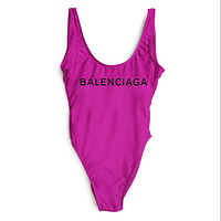 Balenciaga 2018 New Women's Sexy Siamese Bikini Swimsuit F-ZDY-AK purple