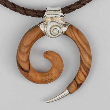 Spiral Olive Wood Pendant - Tribal Jewelry - Tribal Spiral Jewelry - Shiva Eye Jewelry - Wood Jewelry - Carved Wooden Spiral