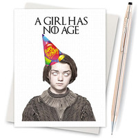 Game Of Thrones. Arya Stark. Happy Name Day. Funny Birthday. Boyfriend Gift. 21St Birthday Gift. Funny Bday Card. Mom Birthday Card. Cute