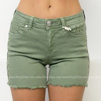 Olive Embroidered Shorts | Grace in L.A