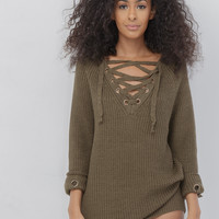 MELANIE OVERSIZED LACE UP SWEATER