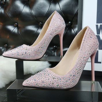 2017 New Fashion high heels women pumps thin heel classic white red nede beige sexy prom wedding shoes sapato feminino