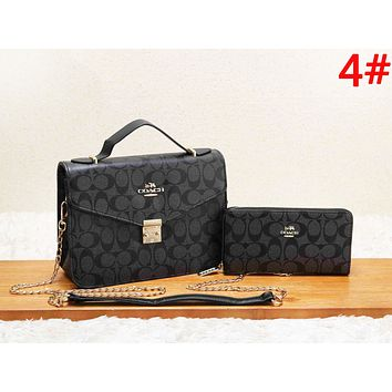 Coach Women Fashion New Pattern Print Shopping Leisure Shoulder Bag And Wallet Two Piece Suit Bag
