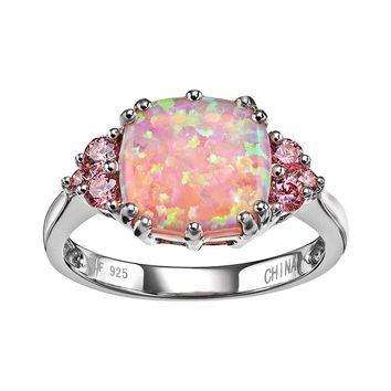 Sterling Silver Simulated Pink Opal & Pink Cubic Zirconia Ring