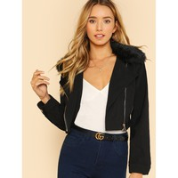 Faux Fur Collar Zip Detail Jacket