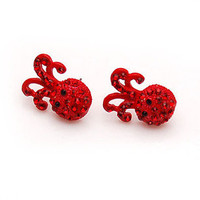 Cute Red Rhinestone Octopus Stud Earring