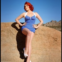 The Bettie One Piece Swimsuit in Blue Dot | Pinup Girl Clothing
