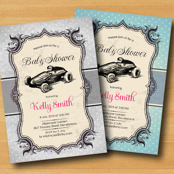race car baby shower vintage car baby boy baby girl invitation Retro Rustic invitation or kids birthday 2colors to choose from - card 294