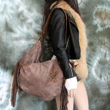 XXL Milky brown leather distressed with bird fringe hobo unique purse free boho people swallow bohemian sweet smoke fringed gypsy festival