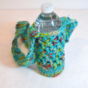 Aqua Multicolor Bottle Holder, Water Bottle Cozy, Crochet Cozy, Water Bottle Sling, Hiking Accessories