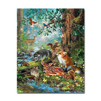 Forest Animals DIY Painting By Numbers Wall Art Drawing Rabbit Bird Canvas Coloring Deer Fox Squirrel Oil Pictures Home Decor