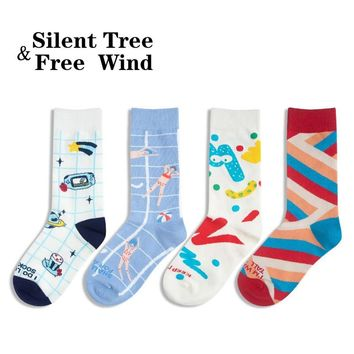 EU 35-42 Funny Women Vintage Illustration Crew Sock Winter Cute Rainbow Striped Happy Star Graffiti Heart Party Unisex Sock