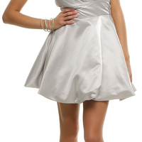 Silver Pleated Perfection Strapless Cocktail Dress Prom 2015