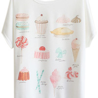 ROMWE | Cakes Printed Batwing Sleeves White T-shirt, The Latest Street Fashion