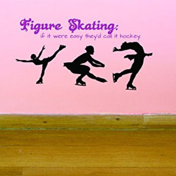 "Design with Vinyl JER 288 3 Skater Figure Ice Skating if it were Easy They'd Call it Hockey Quote Picture Art Vinyl Wall Decal Sticker, 20"" x 40"""